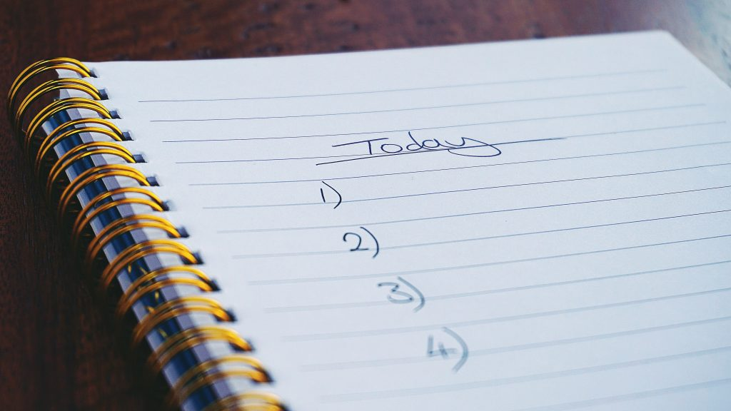 to do list on paper notebook